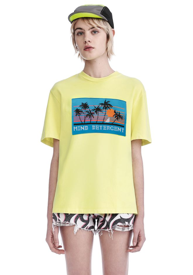 ALEXANDER WANG new-arrivals-ready-to-wear-woman JERSEY T-SHIRT WITH MIND DETERGENT KNIT PATCH