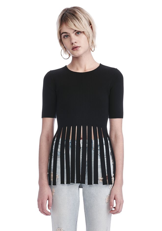 ALEXANDER WANG ready-to-wear-sale T-SHIRT TOP WITH FRINGED HEM