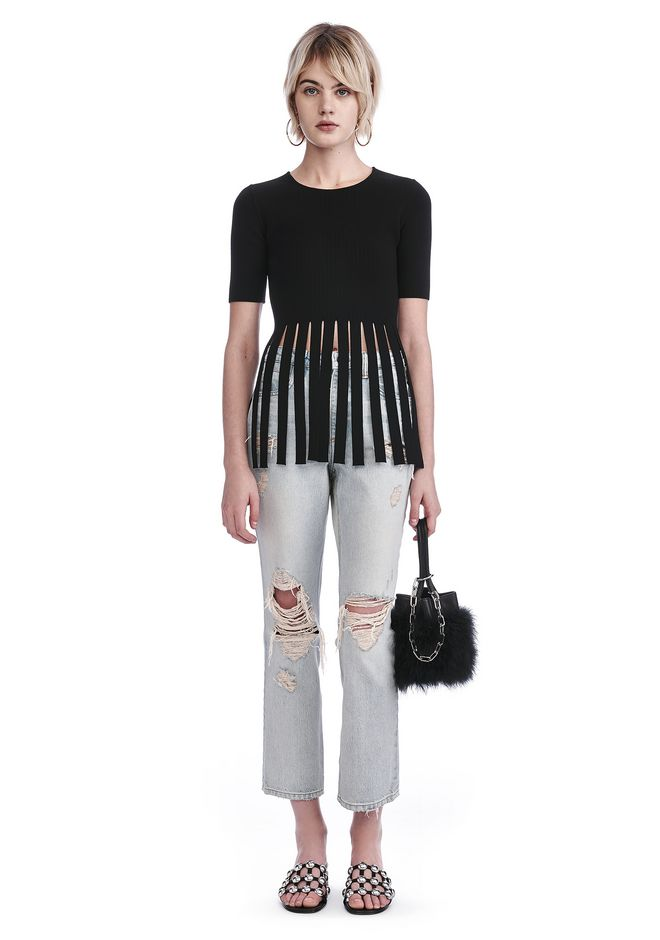 ALEXANDER WANG TOPS T-SHIRT TOP WITH FRINGED HEM