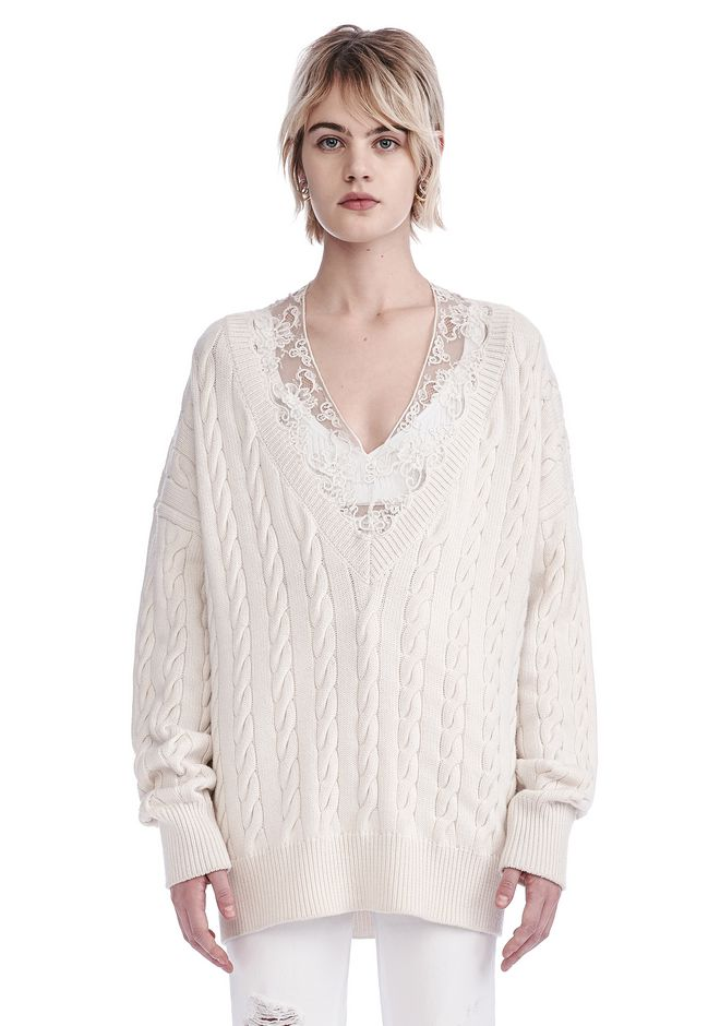 ALEXANDER WANG new-arrivals-ready-to-wear-woman V-NECK CABLE PULLOVER WITH LACE NECK TRIM