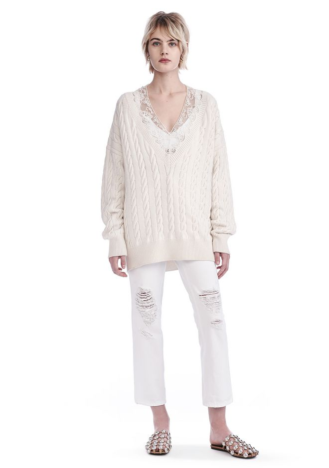 ALEXANDER WANG TOPS V-NECK CABLE PULLOVER WITH LACE NECK TRIM