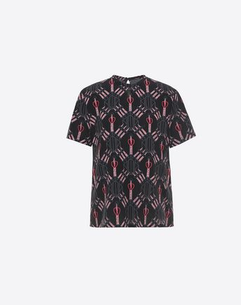 VALENTINO T-shirt in Crepe de Chine stampata 37993303LM