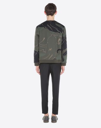 VALENTINO Printed Loopback Cotton-Blend Jersey Sweatshirt in Green