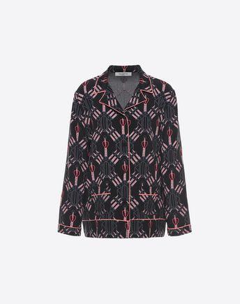 VALENTINO Camicia pigiama in Crepe de Chine 37994899RA