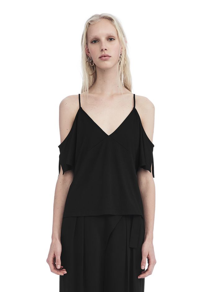 T by ALEXANDER WANG new-arrivals-t-by-alexander-wang-woman LUX PONTE COLD SHOULDER TOP