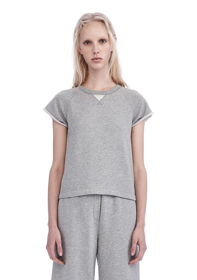 T by ALEXANDER WANG TOPS Women FRENCH TERRY CAP SLEEVE RAGLAN SWEATSHIRT
