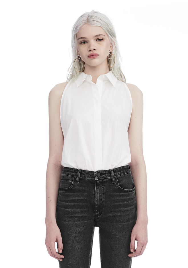 T by ALEXANDER WANG TOPS WASHED COTTON POPLIN SLEEVELESS BODYSUIT