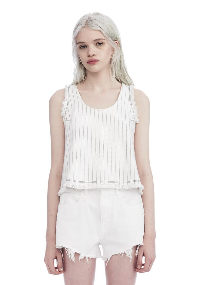 T by ALEXANDER WANG TOPS CROPPED COTTON BURLAP TANK