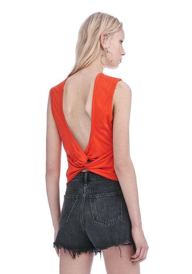 T by ALEXANDER WANG TOPS Women OPEN BACK TWIST TANK TOP