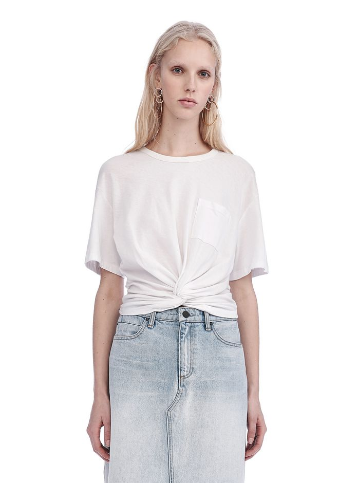 T by ALEXANDER WANG TOPS Women FRONT TWIST SHORT SLEEVE TEE