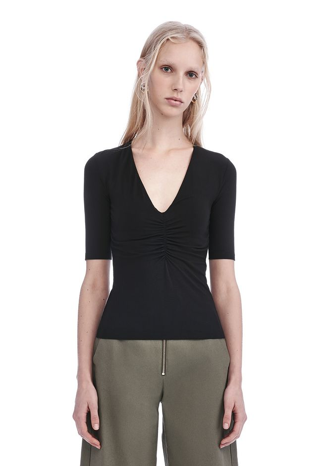 T by ALEXANDER WANG TOPS MODAL SHIRRED FRONT SHORT SLEEVE TOP