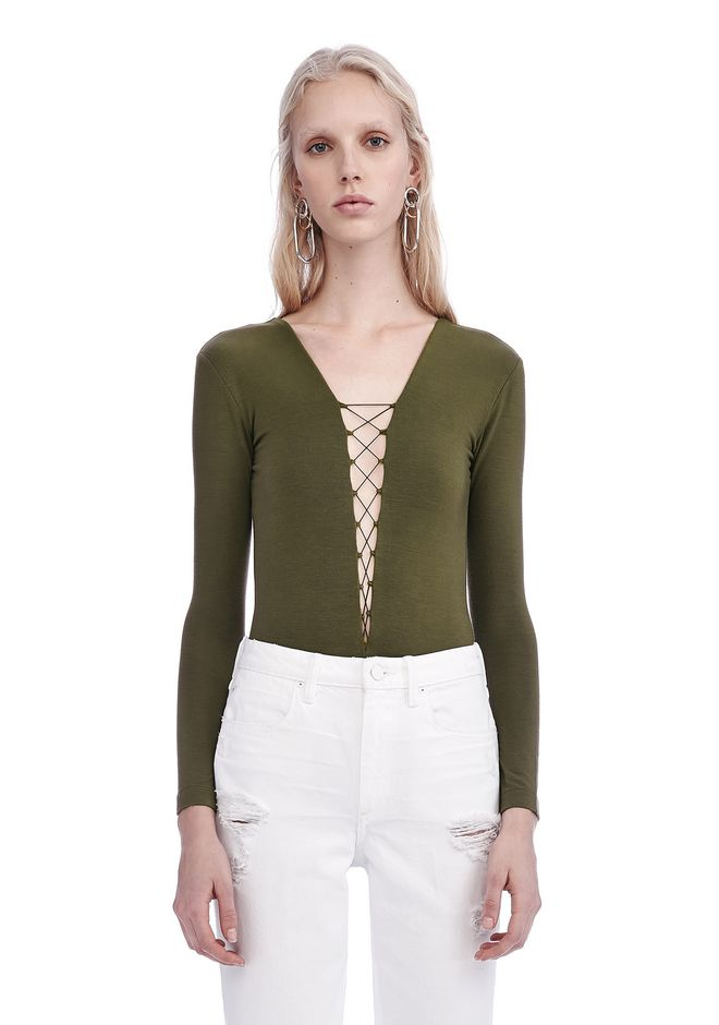 T by ALEXANDER WANG TOPS Women MODAL LACE-UP LONG SLEEVE BODYSUIT