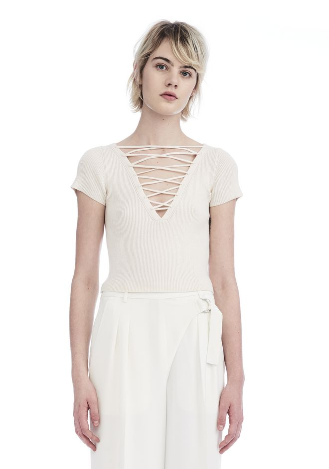 T by ALEXANDER WANG TOPS LACE UP SHORT SLEEVE CROP PULLOVER