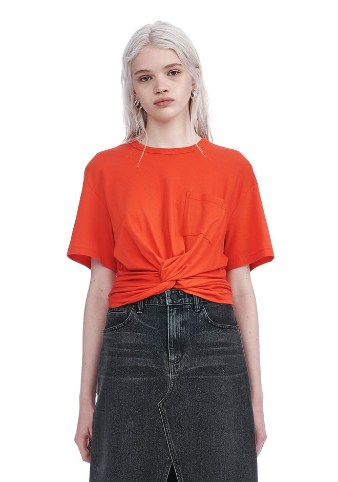 T by ALEXANDER WANG new-arrivals-t-by-alexander-wang-woman FRONT TWIST SHORT SLEEVE TEE