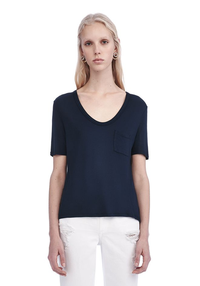 T by ALEXANDER WANG TOPS Women CLASSIC CROPPED TEE WITH POCKET