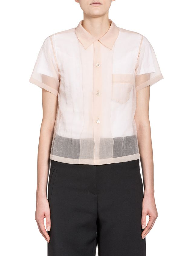 Marni Boxy blouse in seersucker nylon Woman - 1
