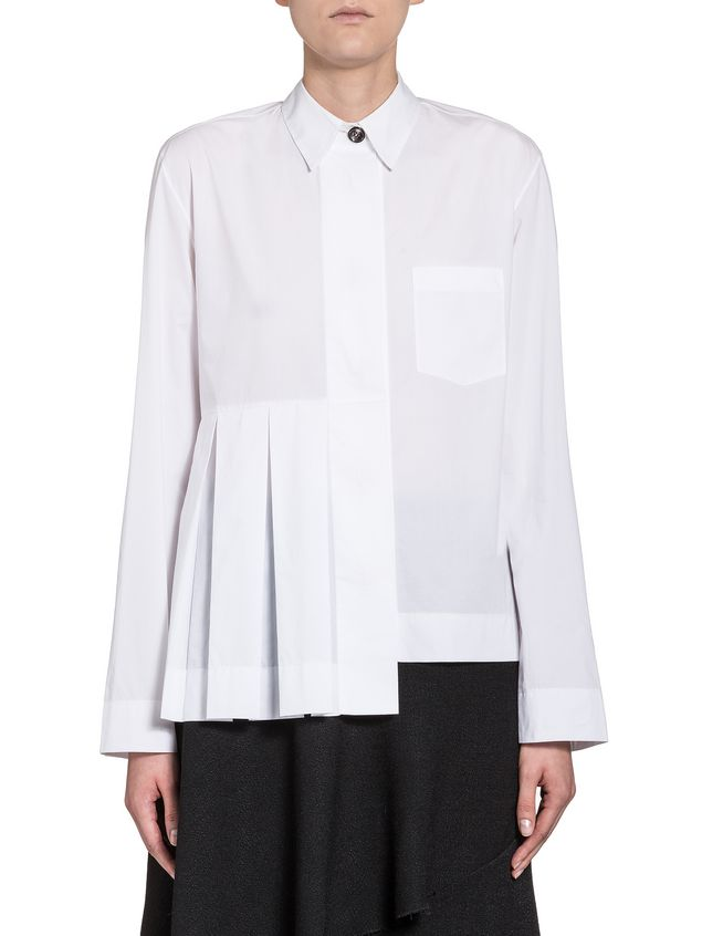 Marni Pleated blouse in poplin coloured buttons Woman - 1