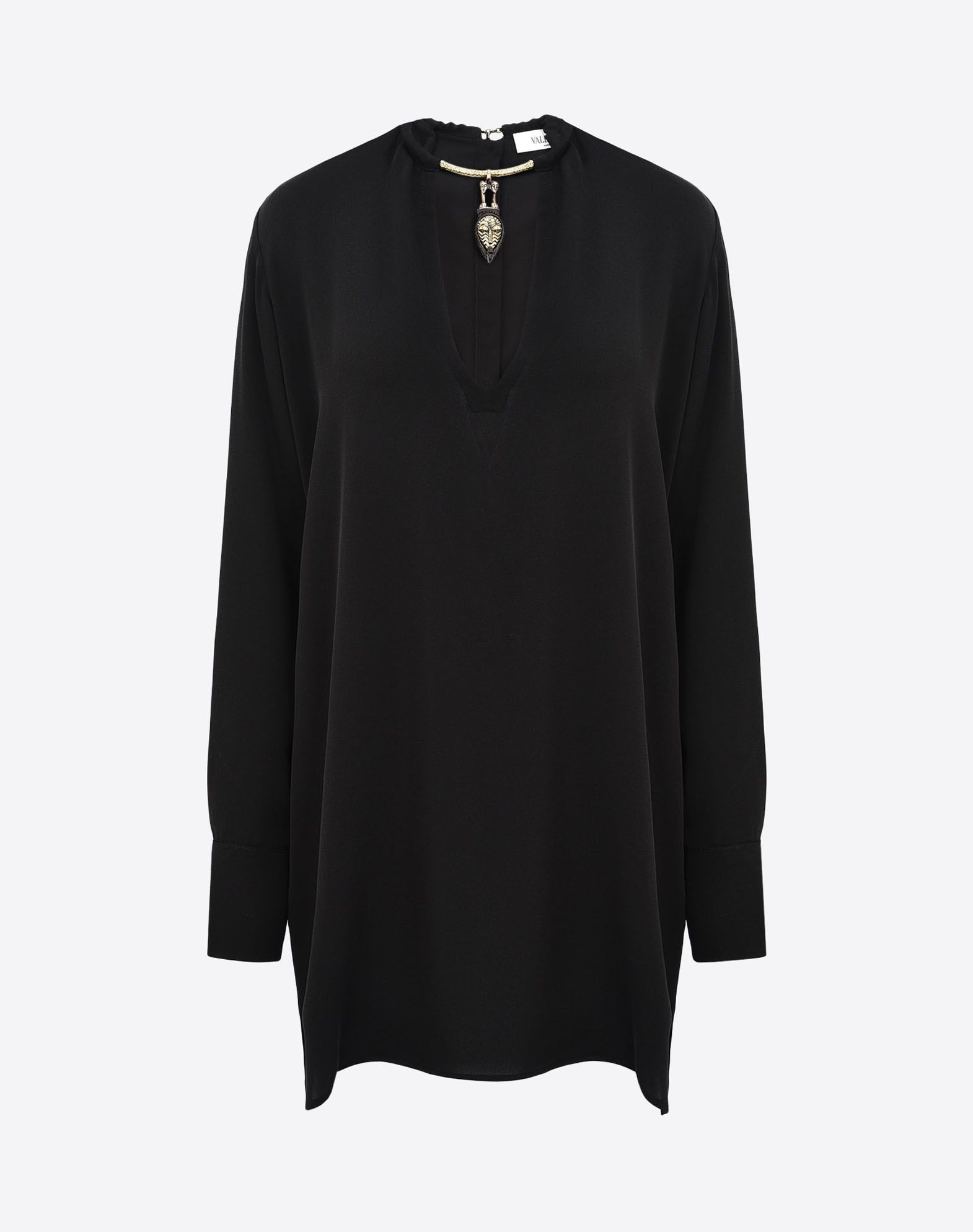 VALENTINO Crêpe Solid color V-neckline Dual button cuffs Hook-and-eye closure Side slit hemline Long sleeves  38506932lo