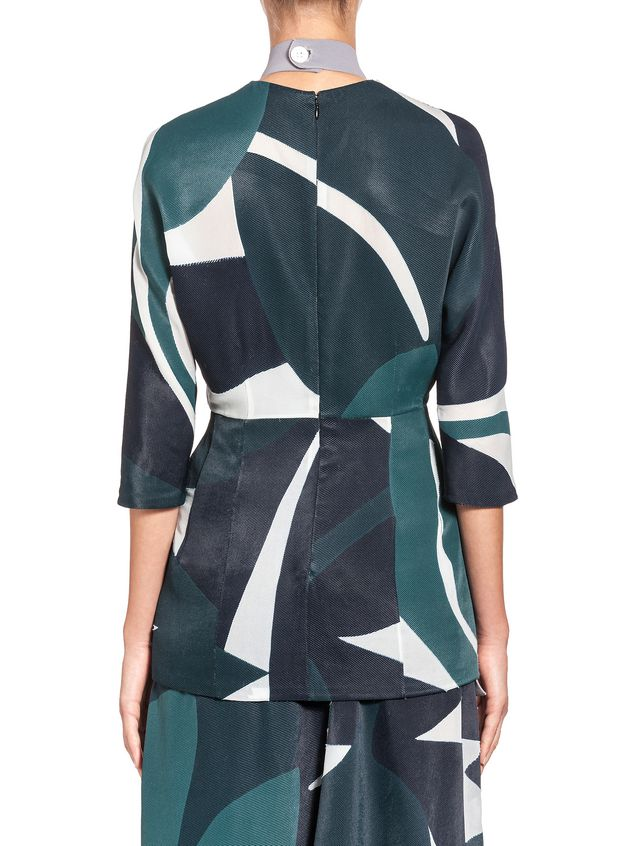 Marni Crewneck blouse in devoré twill with Shadow print Woman - 3