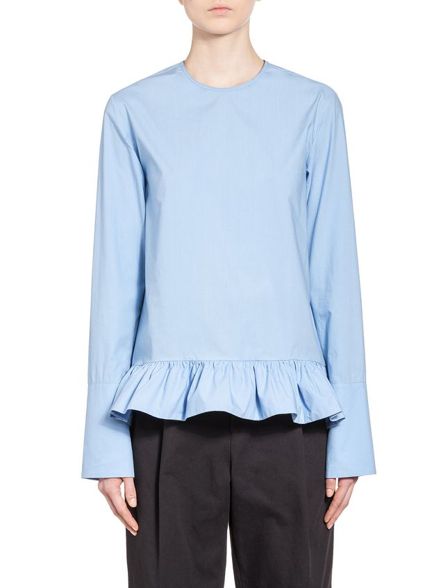 Marni Blouse in crispy cotton with ruffle Woman - 1