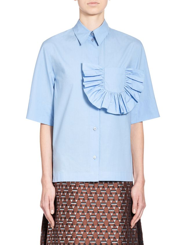 Marni Shirt in crispy cotton with ruffles and slits  Woman - 1
