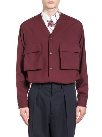 Marni Shirt in tropical wool with raw cut V neckline Man