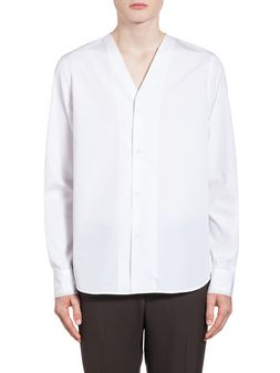 Marni Shirt in twisted cotton with raw cut V neckline Man