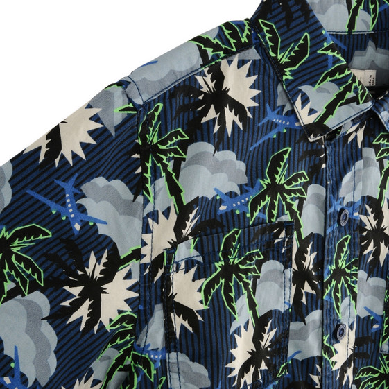 Blue Hawaiian Print Rowan Shirt