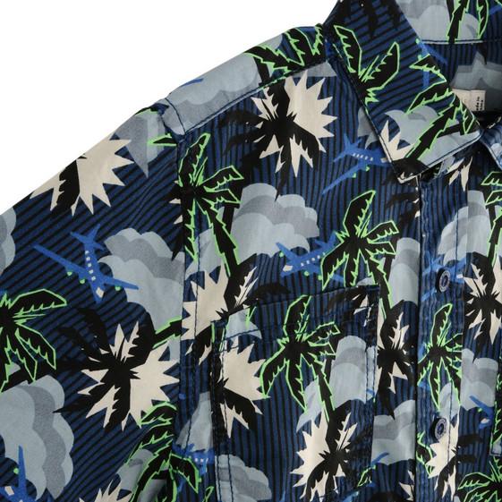 Chemise Rowan avec imprimé hawaïen bleu