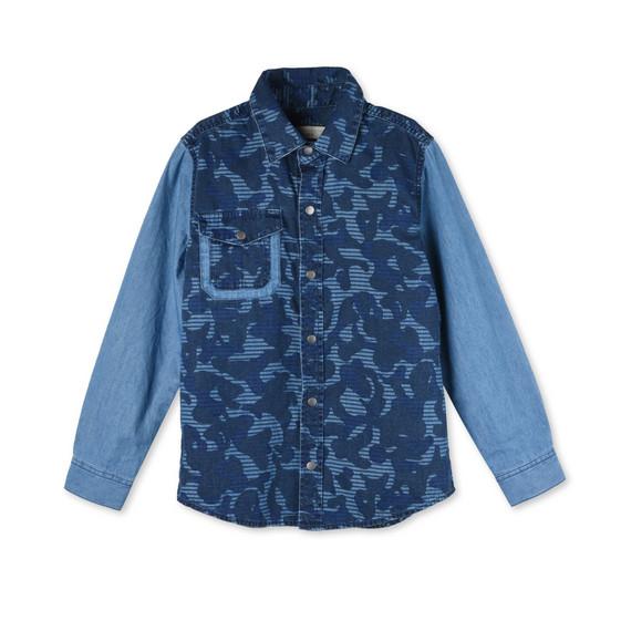 Camicia Samuel con Stampa Camouflage Blu