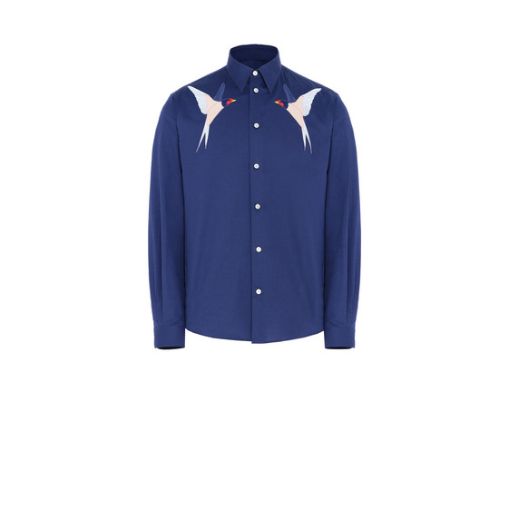 Ink Embroidered Cotton Shirt