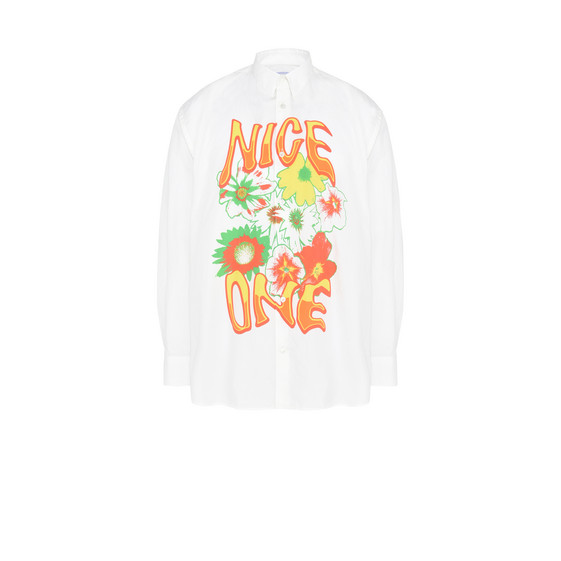 White Nice One Print Shirt