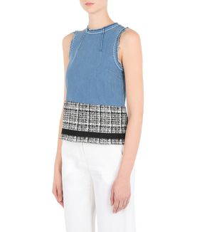 KARL LAGERFELD DENIM & BOUCLÉ TOP