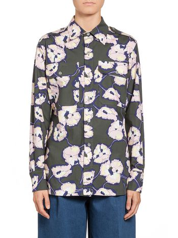 Marni Blouse in coated poplin Whisper print Woman