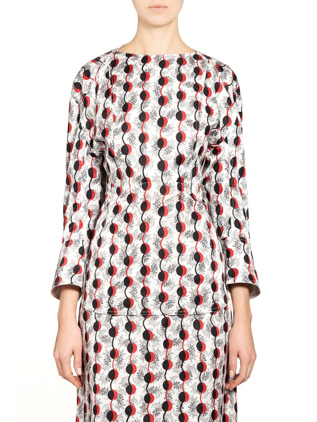Wide Shoulder Shirt With Garland Print From The Marni