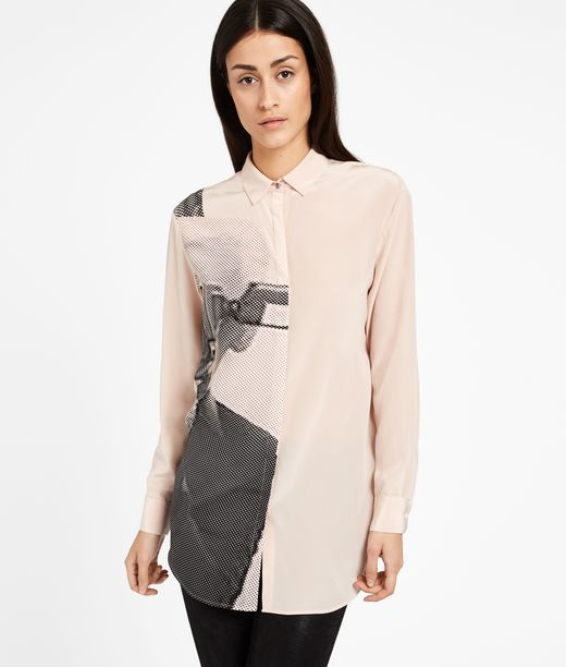KARL LAGERFELD Camicia in Seta Photo Print 12_f