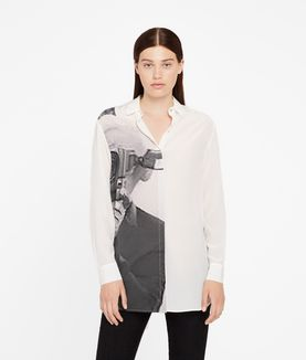 KARL LAGERFELD SILK PHOTO PRINT SHIRT