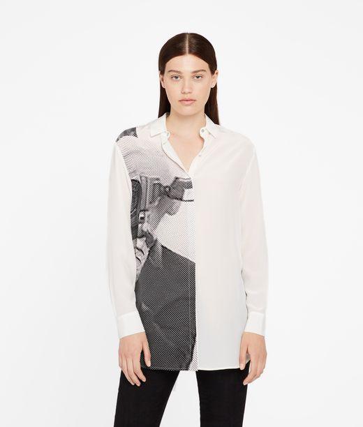KARL LAGERFELD Silk Photo Print Shirt 12_f