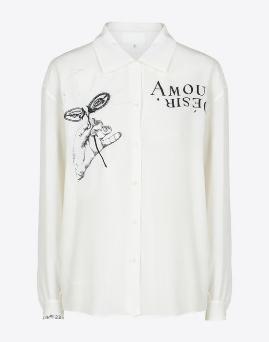 MAISON MARGIELA Embroidered silk blouse Long sleeve shirt Woman f