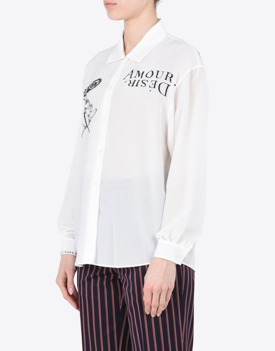 MAISON MARGIELA Embroidered silk blouse Long sleeve shirt Woman r