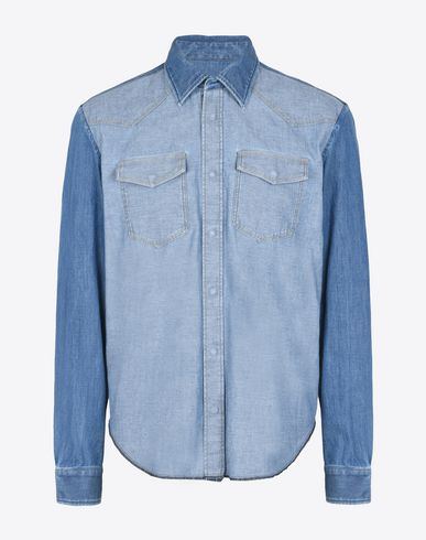 MAISON MARGIELA 10 Long sleeve shirt U Denim shirt with contrasting sleeves f