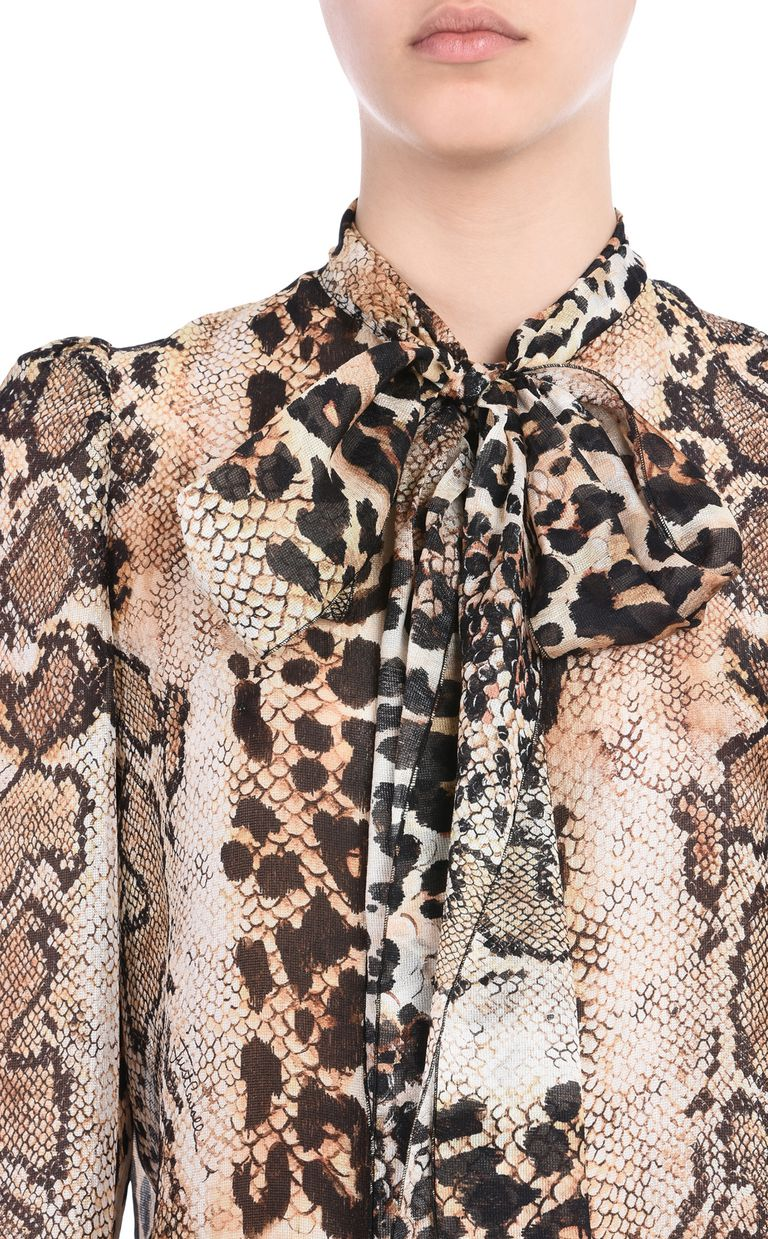 JUST CAVALLI Shirt with a bow around the neckline Long sleeve shirt Woman e