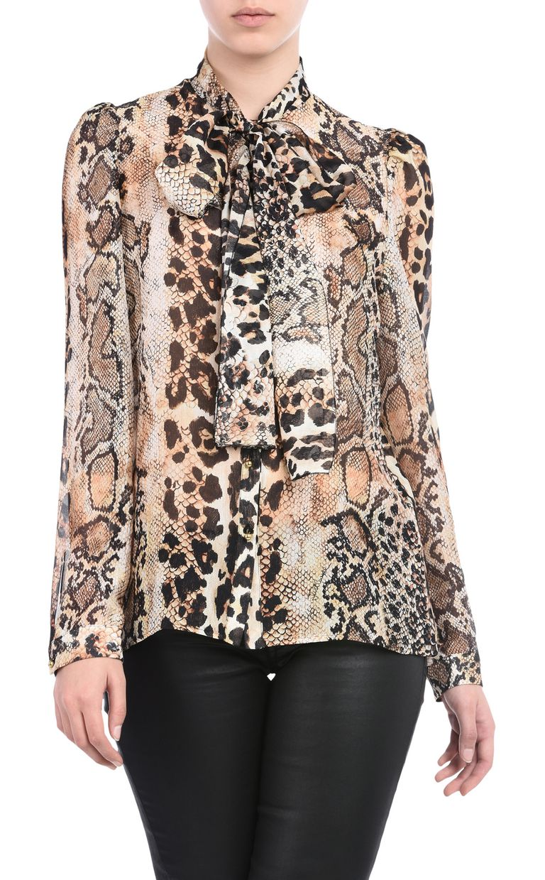 JUST CAVALLI Shirt with a bow around the neckline Long sleeve shirt Woman f
