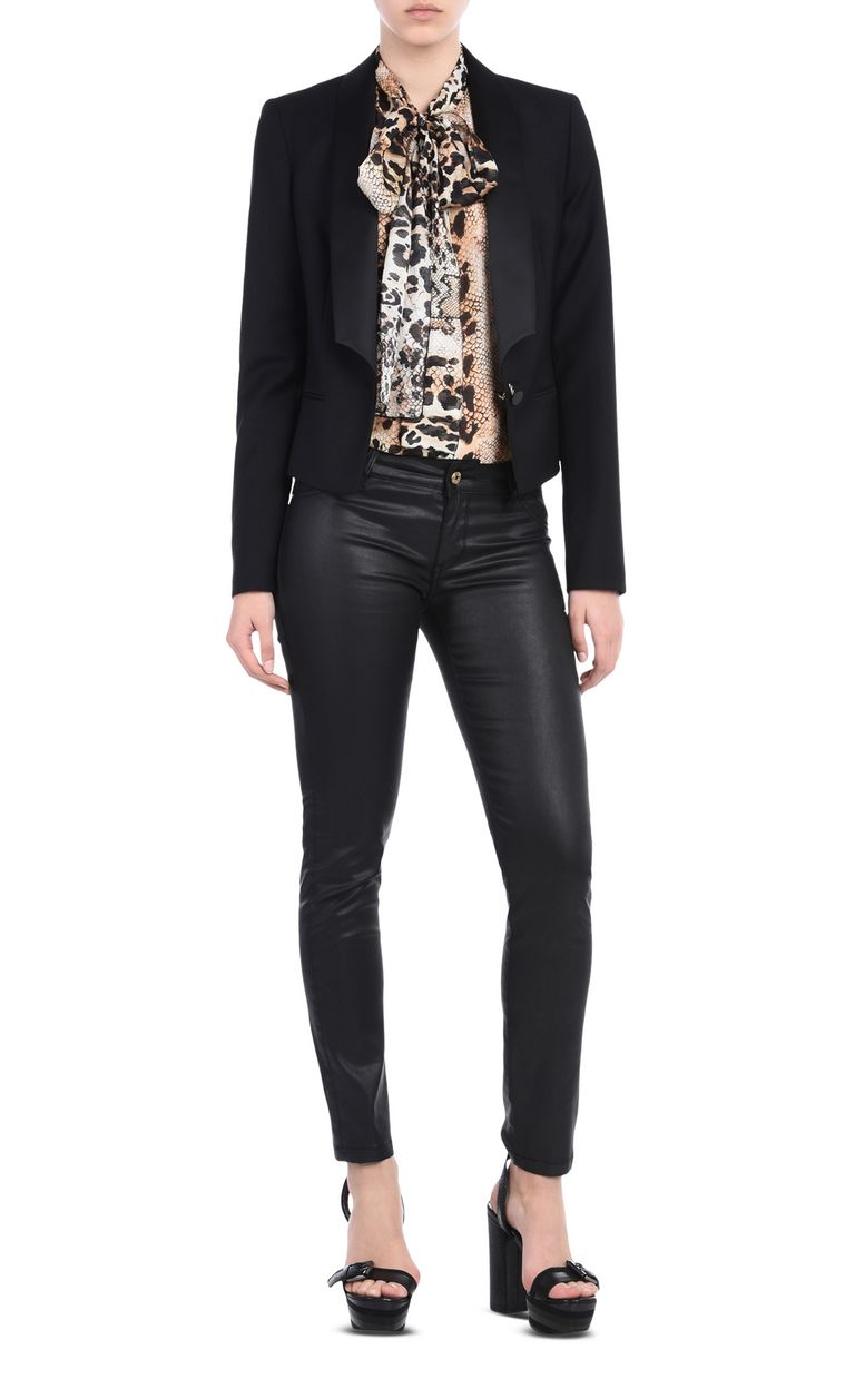 JUST CAVALLI Shirt with a bow around the neckline Long sleeve shirt Woman r