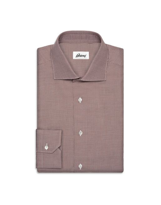 BRIONI Formal shirt U Whiskey and Brown Micro Pied de Poule Shirt   f