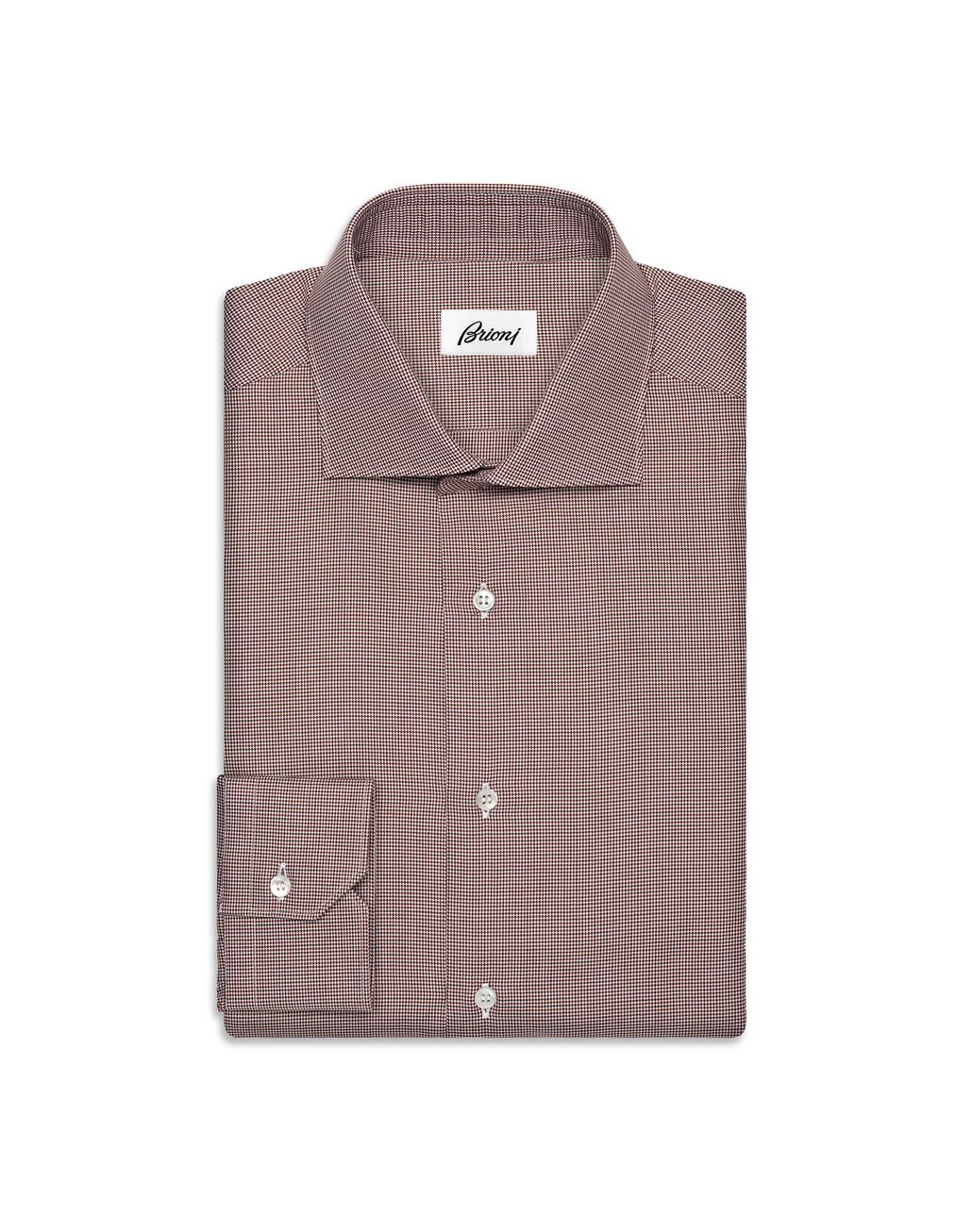 BRIONI Whiskey and Brown Micro Pied de Poule Shirt   Formal shirt Man f