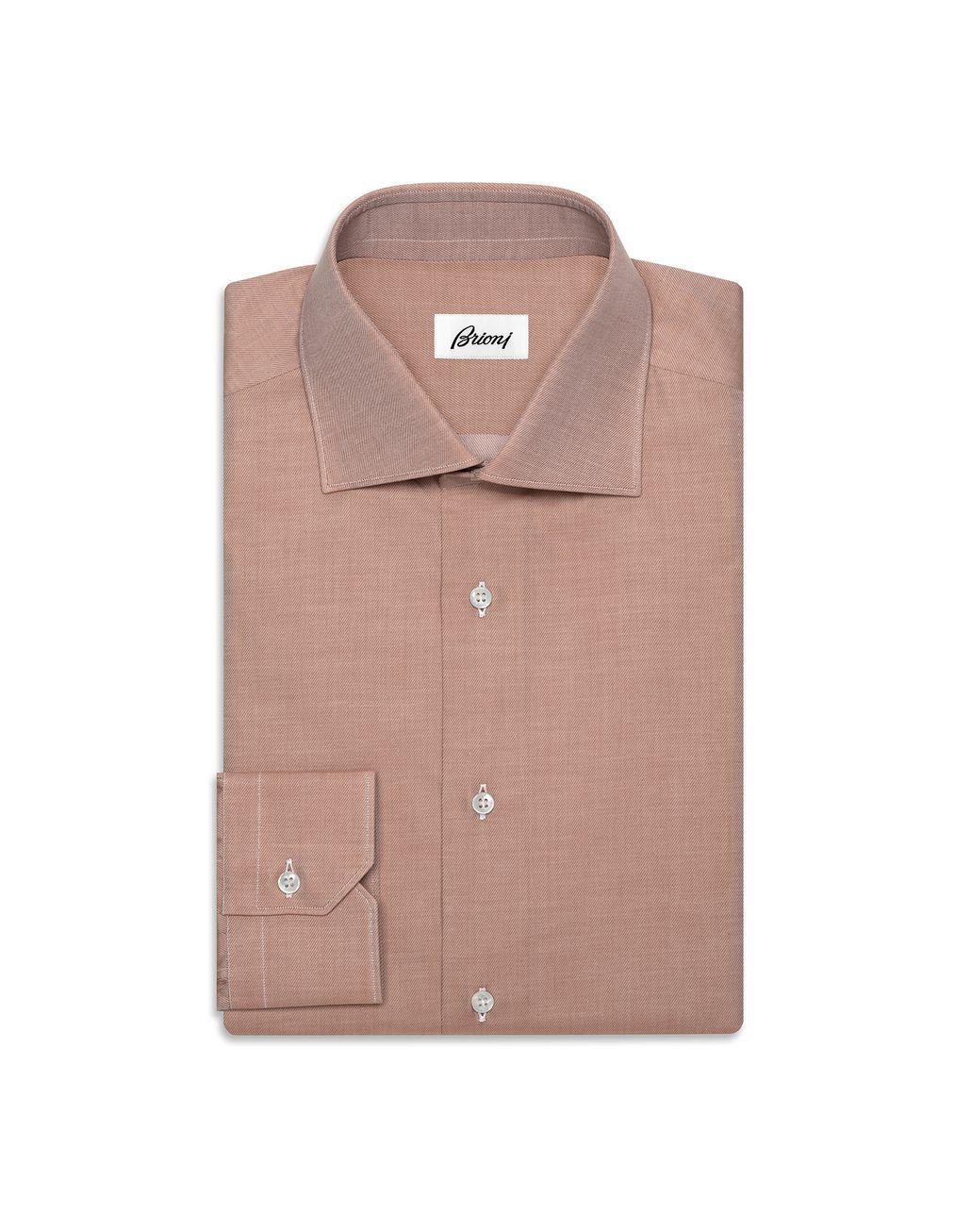 BRIONI Приталенная рубашка из твила цвета виски Классическая рубашка Для Мужчин f