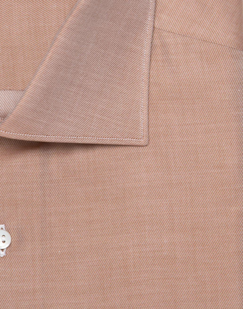 BRIONI Приталенная рубашка из твила цвета виски Классическая рубашка U r
