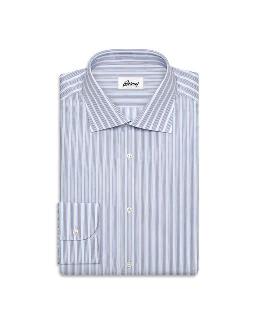 BRIONI Formal shirt U Whiskey and Light Blue Striped Comfort Shirt   f