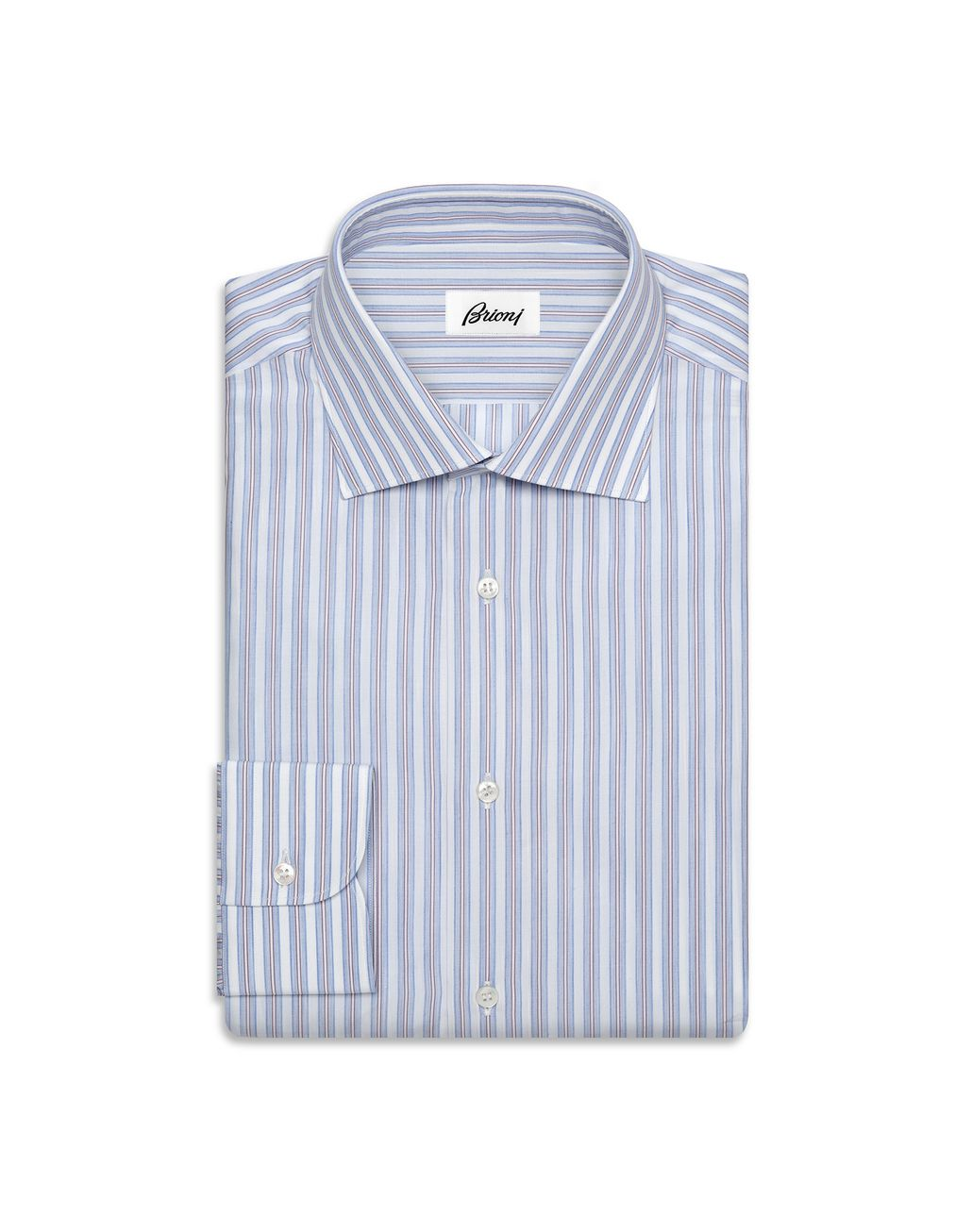 BRIONI Whiskey and Light Blue Striped Comfort Shirt   Formal shirt U f
